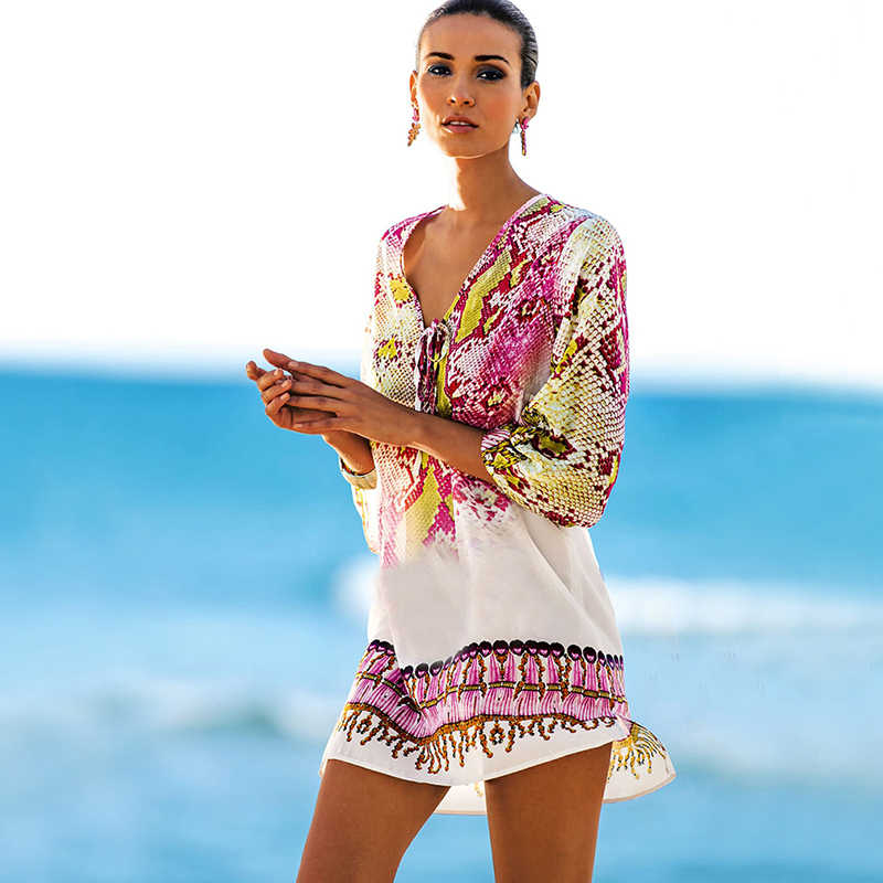 Costume da Bagno Cover Up Caftano Spiaggia Spiaggia Tunica Beach Cover Up Stampa Del Serpente Robe De Plage Cover Up Beach Dress costumi da bagno
