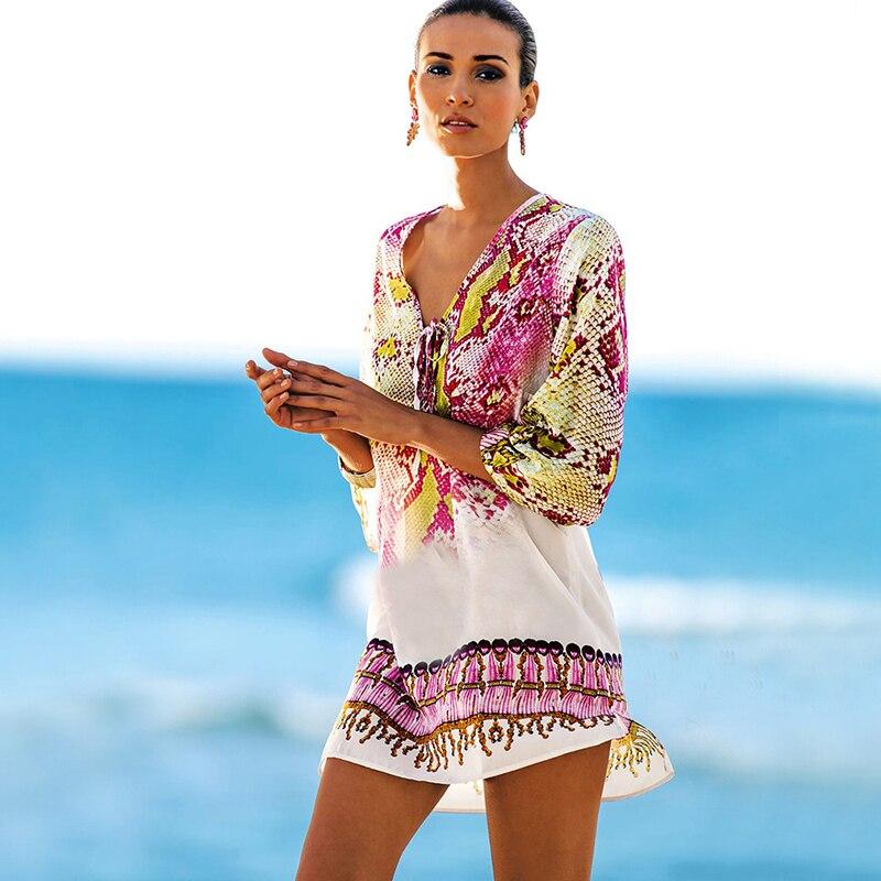 Bathing Suit Cover Ups Kaftan Beach  Beach Tunic Beach Cover Up Print Snake Robe De Plage Cover Up Beach Dress Swimwear