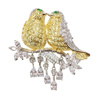 Elegant Double Birds on Branch Design Shiny Silver Plating With Clear and Gold Zircon Jeweled Copper Brooch