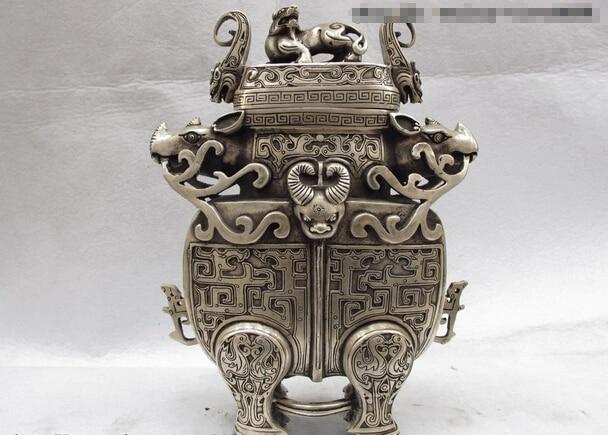 USPS to USA S0697 Chinese Folk Classical White Copper Silver Foo Dog Lion Beast bottles Pot Vase|usp|usp s|  - title=