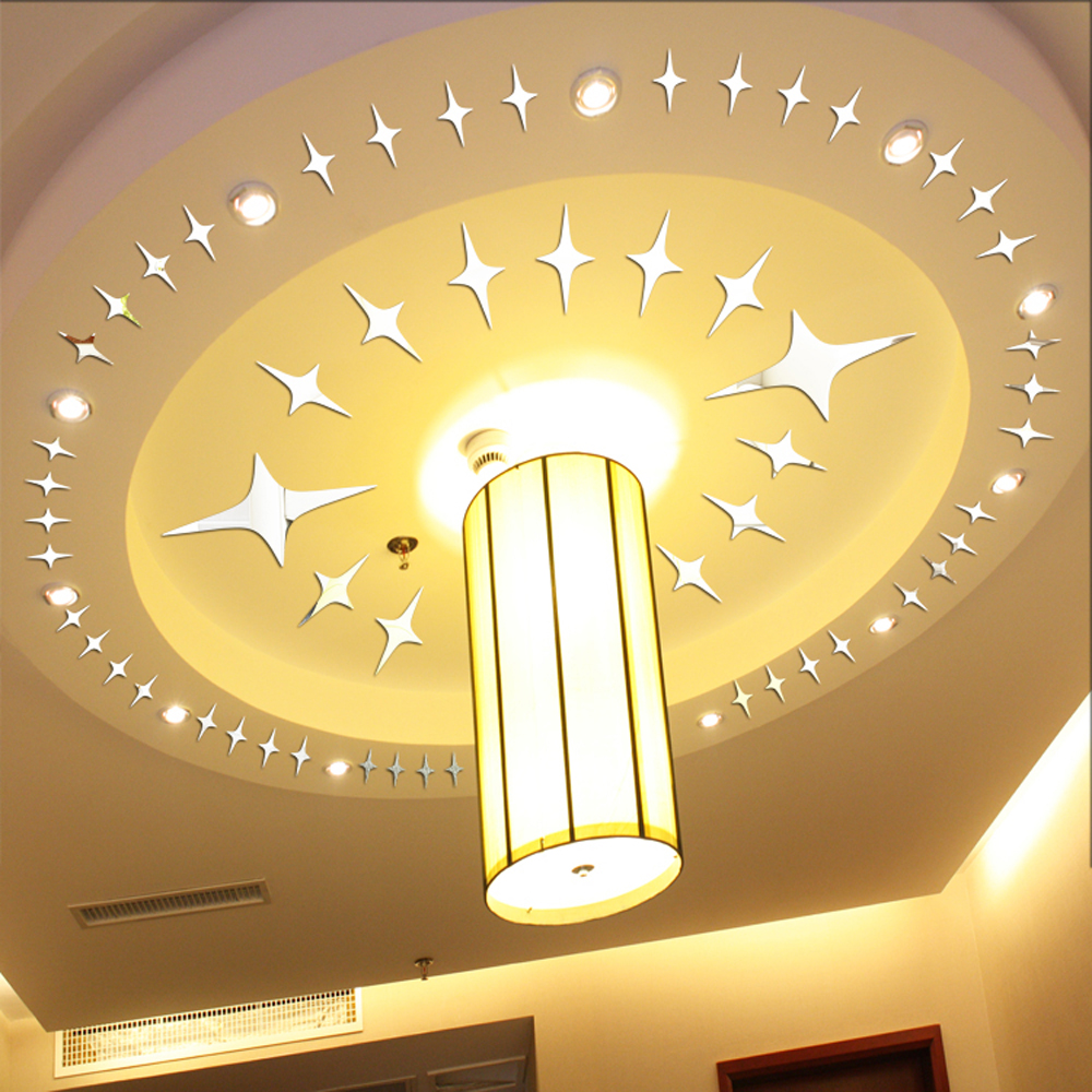 50pcs Twinkle Stars Ceiling Decor 2014 Crystal Reflective DIY Mirror ...