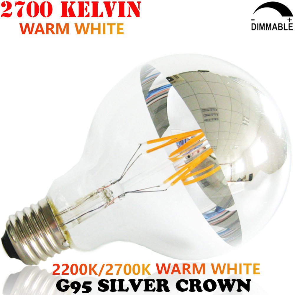 25W 40W 60W Incandescent Equal Half Silver Crown G95 E27 220V 230V 240V Dimmable LED Vintage Filament Edison Light Bulb 4W 6W 8W
