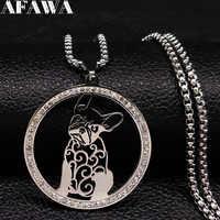 Bouledogue français cristal acier inoxydable collier femmes argent couleur déclaration collier bijoux acier inoxydable femme 518