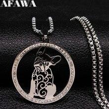 Bulldog Francés de cristal collar de acero inoxidable de las mujeres de Color plata declaración collar de la joyería bijoux acier inoxydable femme 518