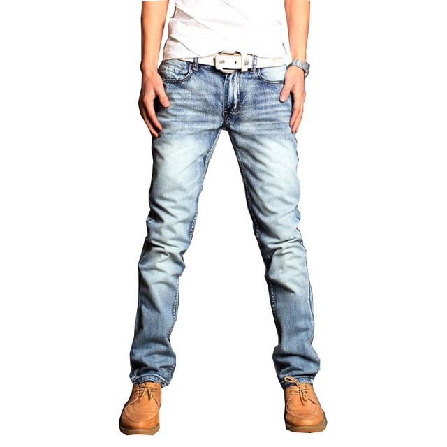 2018 New Brand fashion Light blue three-dimensional cut Men's self-cultivation jeans men Four seasons straight jeans Size 34 36