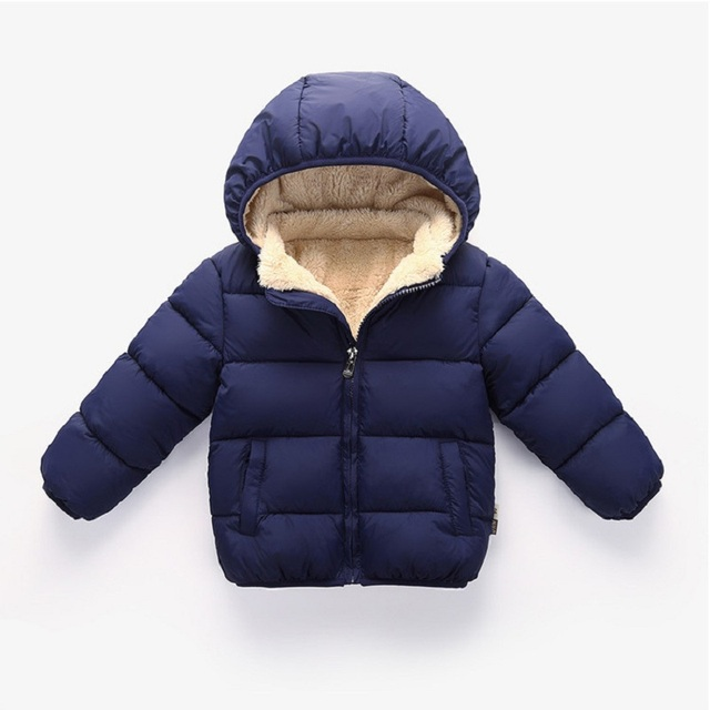New Winter Baby Jacket Hooded For Girls Boys Kids Solid Clothes Children Velvet Warm Thick Outerwear Infant Coats Costume 0-4Y
