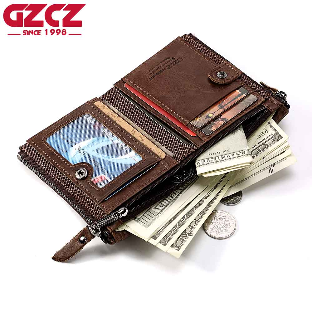 GZCZ Genuine Leather Men Wallet High Quality Luxury Brand Double Zipper Fashion Male Walet Coin Pocket Small Purse Portomonee fashion genuine leather men wallets small zipper men wallet male short coin purse high quality brand casual card holder bag