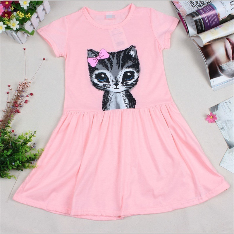 Lollas Cute Cat Toddler Baby Girls Princess Short Sleeve Dress Summer Girl Dress Cat Print Grey Pink Dress Children Clothing