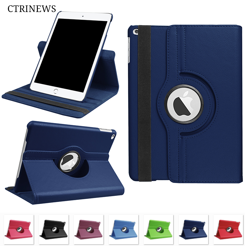 CTRINEWS Case For New iPad 2017 360 Degree Rotating Stand Smart PU Leather Flip Cover for