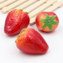 2pcs Strawberry Artificial Fruit Decorative Plastic Fruit Fake Plant Party Home Decor Garden House Kitchen Diy