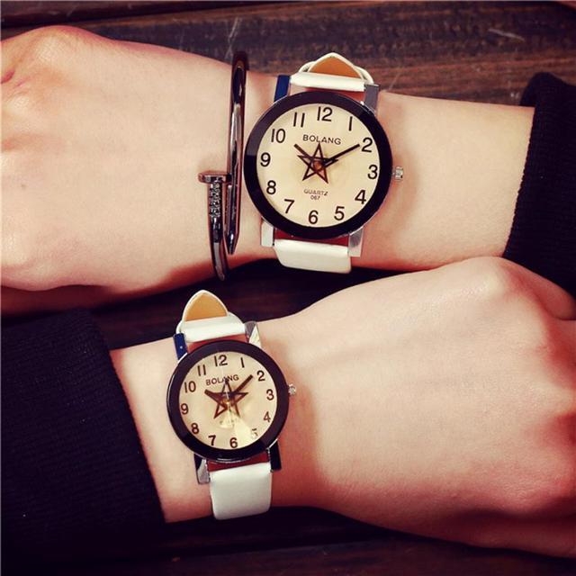 Watch Women Men Fashion Lovers Clock White PU Leather Strap Quartz Analog Wrist