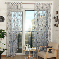 Ready Made Custom Flower Floral Voile Sheer Tulle Curtains for Living Room Bedroom Kitchen Door Window Home Decor 1 Panel/PCS