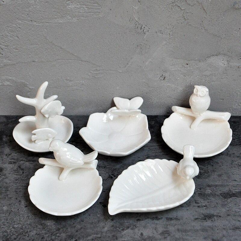 אמריקאי רך דקורטיבי צלחת מתנות תלת ממדים ציפור ינשוף פרפר קרמיקה צלחת יצירתי תכשיטי מדף אחסון