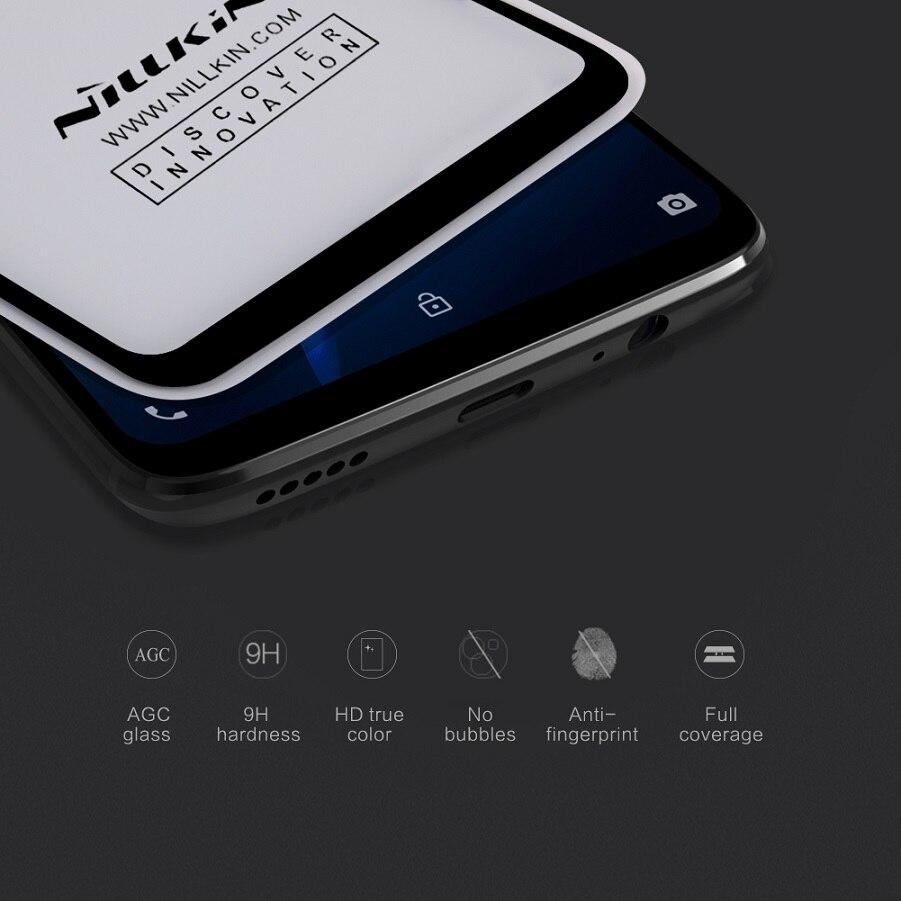 One plus 6 protector de pantalla totalmente cubierto nillkin 3D CP + Max 9 H 0,33mm delgado para oneplus 6 vidrio templado curvado claro de 6,28 pulgadas