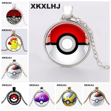 HOT! New Pokemon Necklace Pikachu Pokeball Statement Chain Pendant Necklace Women Anime Jewelry(China)