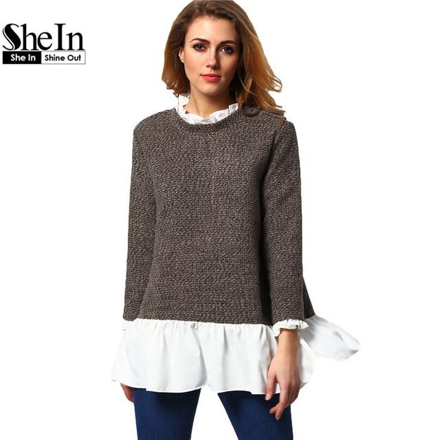 SheIn Otoño Mujeres Suéteres y Jerseys Ladies Casual Cuello Redondo Manga Larga Marrón Blanco Color Block Suéter Flojo