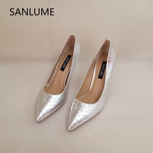 SANLUME Cowhide Silver texture Women Sexy High heels Real leather dress pumps shoes Pumps Lady Pointed Toe inside sheepskin hot sale high quality pointed toe thin high heels women shoes genuine leather upper and inside lady sexy pumps sheepskin shoes