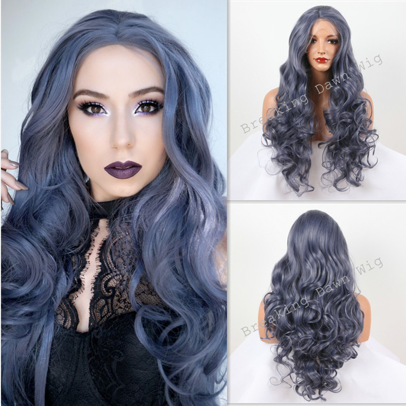 ФОТО Cool! Sexy Dark Blue Hair Body Wave wig For Women Synthetic Lace Front Wigs Heat Resistant Fiber Hair Free Shipping