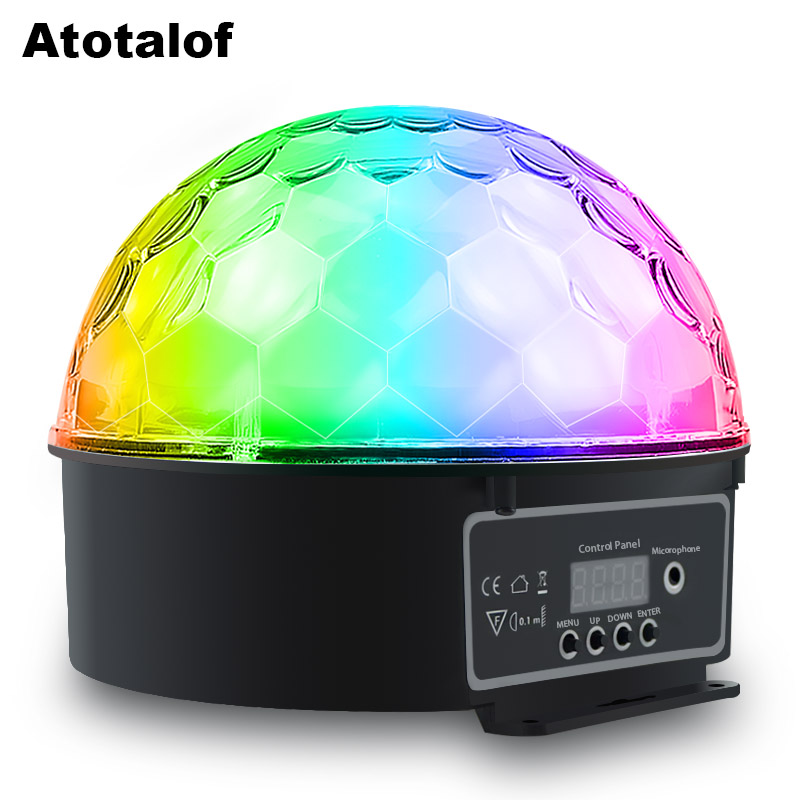 Atotalof LED Crystal Magic Ball 9 Color Party DMX512 Magic Ball Light With Remote Control DJ LED Stage Light Ball Sound Control