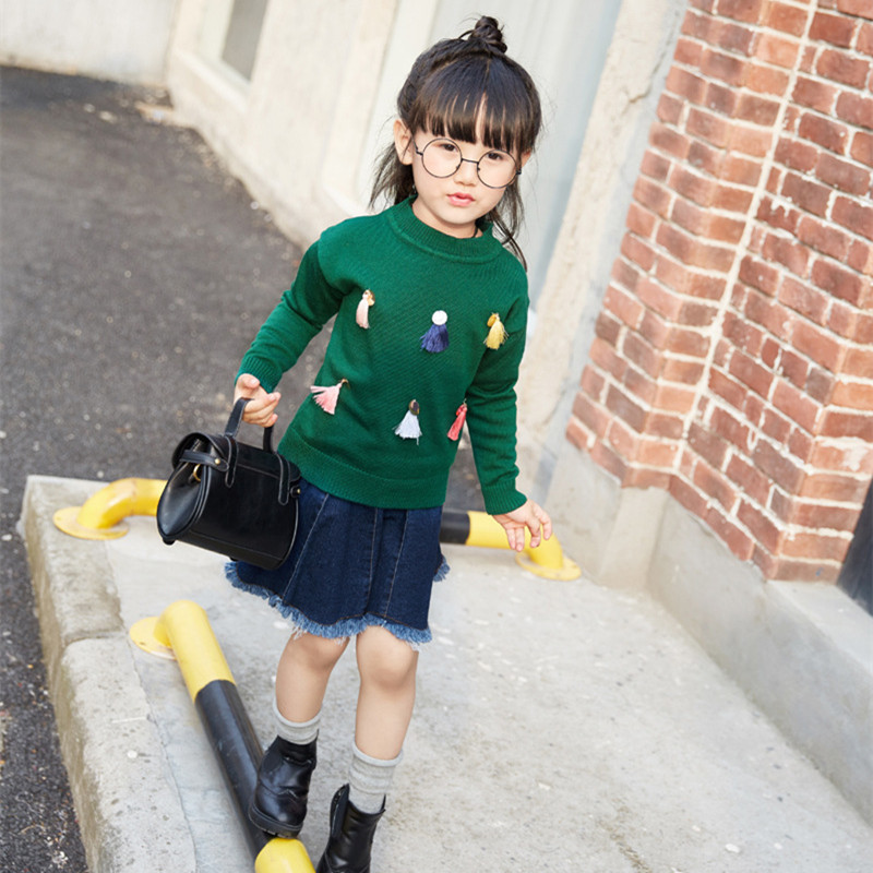 Baby Girls Autumn Clothes Fashion Long Sleeve Tassel Knitted Pullover Sweater+Denim Skirt Christmas Outfit 2-7Years