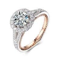 14k white Gold 5ct Carat Moissanites Ring Luxury group set Double color diamond ring Carat effect custom
