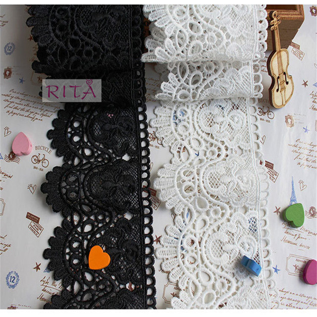 15Yards/Lot  8cm Diy Handmade Patchwork Polyester Embroidered Lace Ribbon White And Black Color Cotton Lace Trim Lace