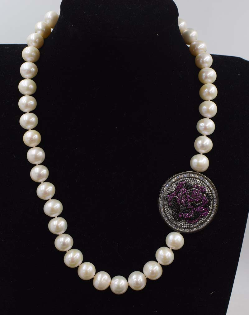 freshwater pearl white near round and flower pendant 11-12mm  necklace 19inch FPPJ wholesale beads nature