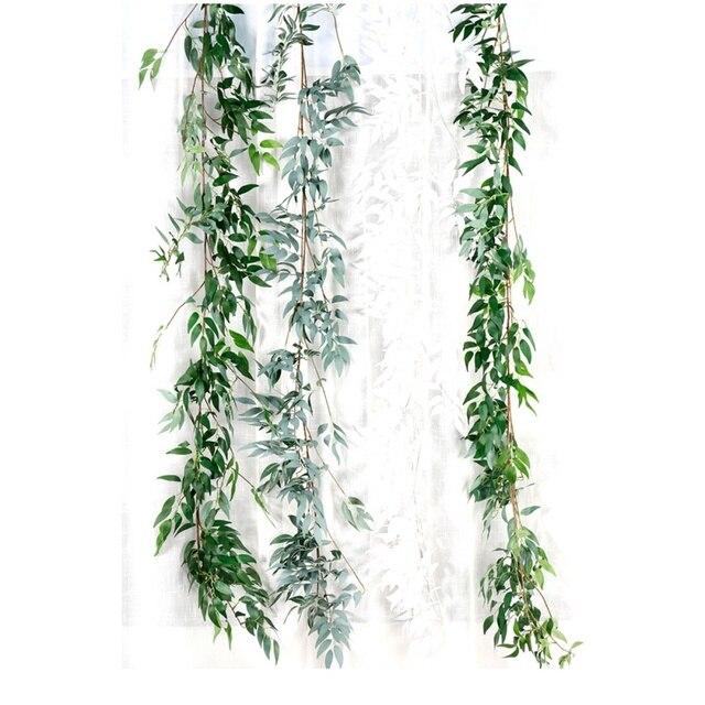 Plastic Artificial Flower Rattan string Artificial Ivy green Leaf Garland Plants Vine Fake Foliage Flowers Home Decor 5