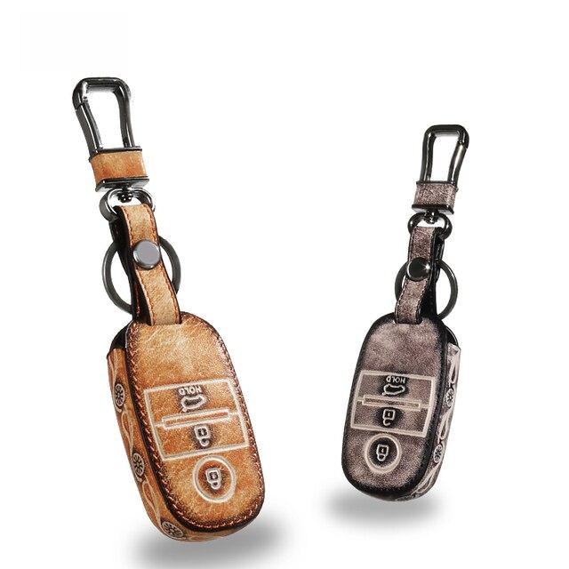 Leather Car Keychain Key Fob Case Cover wallet for KIA RIO Sorento Carens Sportage R K2 K3 K4 K5 KX3 Soul Key Rings Holder bag