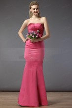 2016 New Long Bridesmaid Dresses Mermaid Strapless Ruched Satin