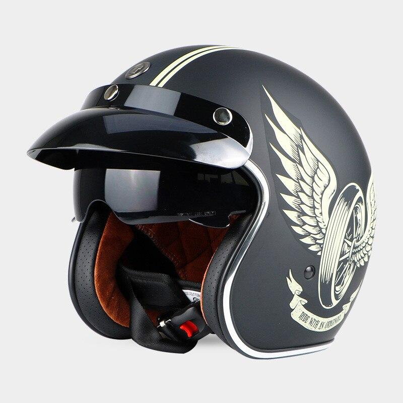 Vintage TORQUE T57 moto casque Harley 3/4 open face casque Cool crâne moto casco Capacete avec intérieure visière