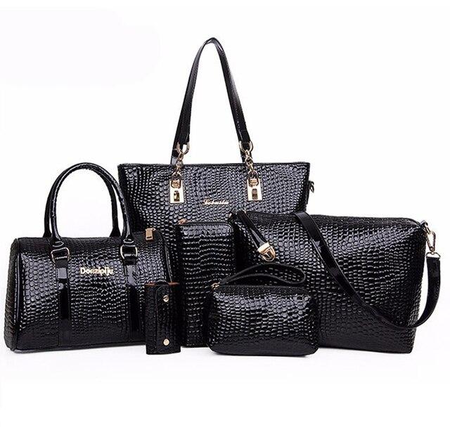 6 unids/set del cocodrilo De patentes De asas De cuero 2016 Marca mujeres bolso De embrague bolsas De mensajero Bolsos De Marca De Mujer