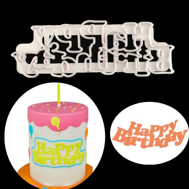 1PC New Popular DIY Plastic Happy Birthday Fondant Cake Cutter Mold Sugarcraft Biscuits Embossed Molds Baking