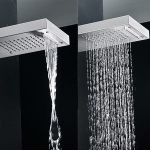Image 3 - FLG 304SUS Waterfall Rain Shower Faucets Nickel Brushed,Thermostatic Shower Panel With Hand Shower Tub Spout Tower Shower Column