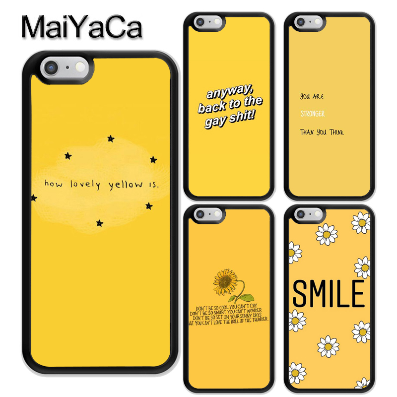 sneakers for cheap 7baef 6ebda US $2.97 5% OFF|MaiYaCa Yellow Aesthetic Art Soft Rubber Phone Cases For  iPhone 6 6S Plus 7 8Plus X XR XS MAX 5 5S SE Cover Bags Skin Shell-in  Fitted ...