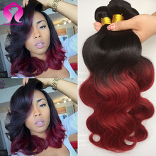 Rosa Hair Products 2 Bundles Of Brazilian Red Ombre Human Hair Extensions 2 Bundles Brazilian Hair Body Wave Burgundy Ombre Hair