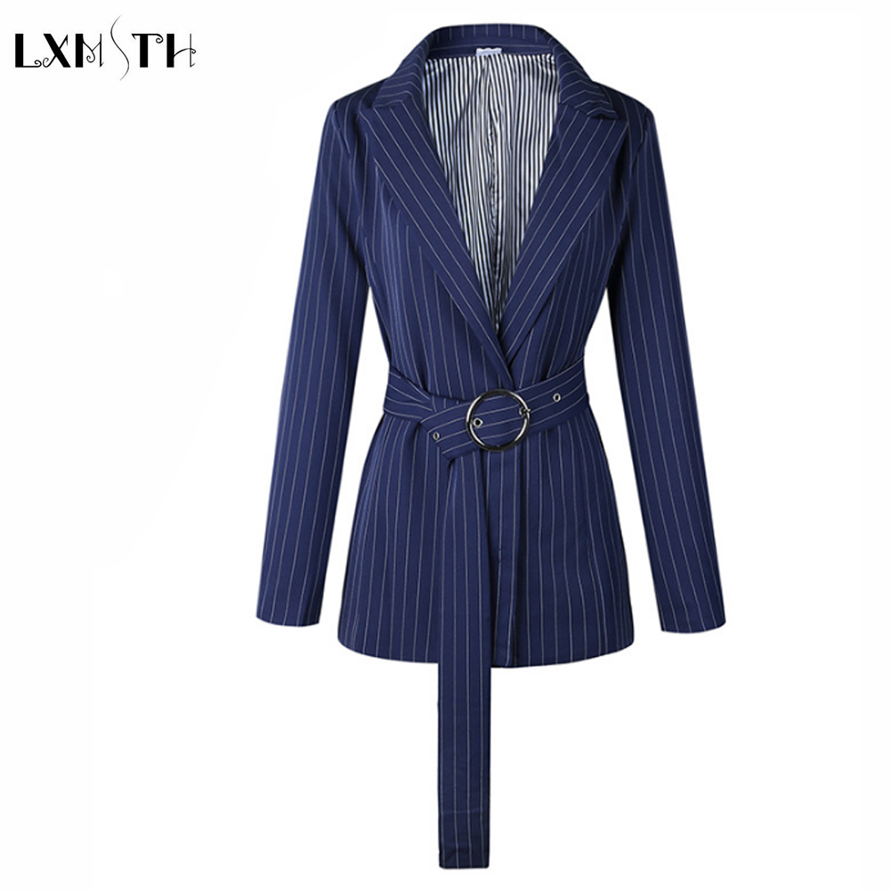 Temperate 2019 Spring Office Lady Blue Striped Blazers Women Loose Korean Slim Fashion Suit Jackets Female Long Sleeved Work Jacket Bright In Colour Blazers Suits & Sets