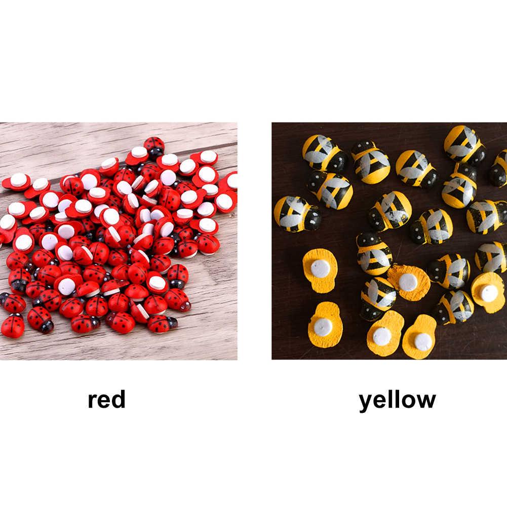 100 Pcs Creative Colorful DIY Kayu Kartun Ladybug Bee Stiker Kulkas Stiker