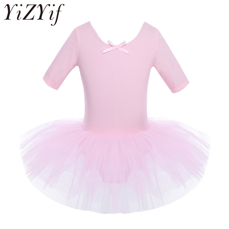 YiZYiF Ballet dress Kids Half Sleeves Cotton Dance Ballet Tutu Dress Leotard Girl Gymnastics Dancewear Ballerina Party Costumes(China)