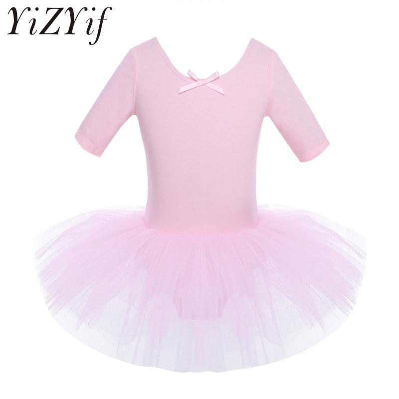 YiZYiF Ballet Dress Kids Half Sleeves Cotton Dance Ballet Tutu Dress Leotard Girl Gymnastics Dancewear Ballerina Party Costumes