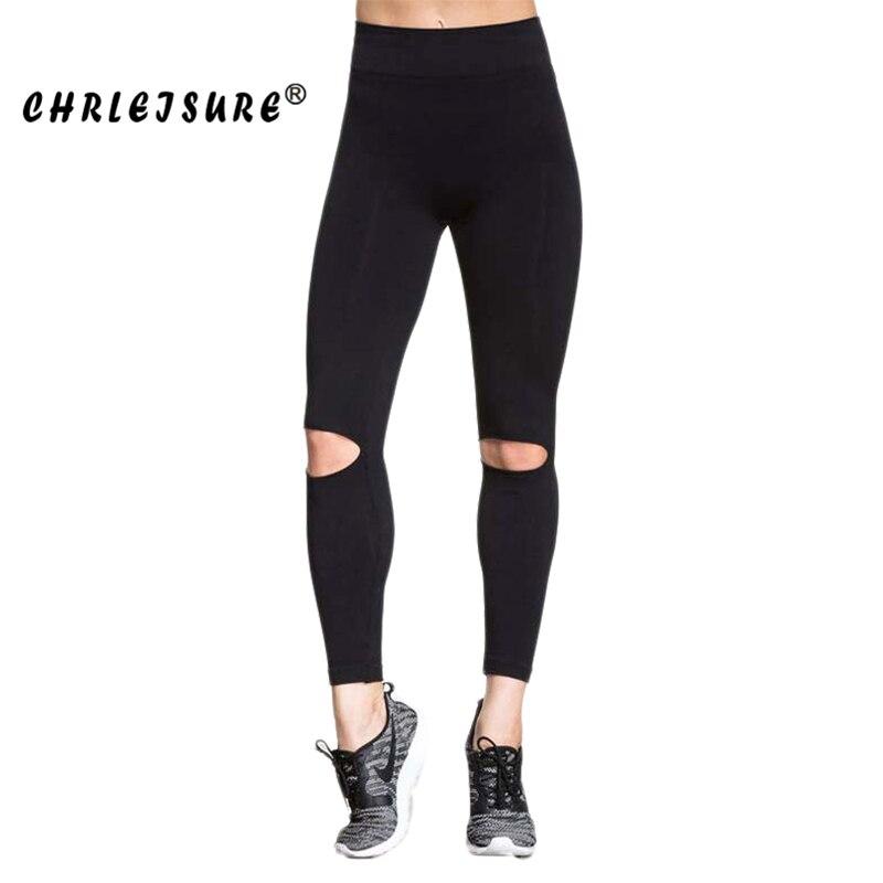 CHRLEISURE S/M/L Black Hollow   Leggings   Women Fashion Knee Hole Legins Pants Trousers Elasticity Sexy Fitness   Leggings