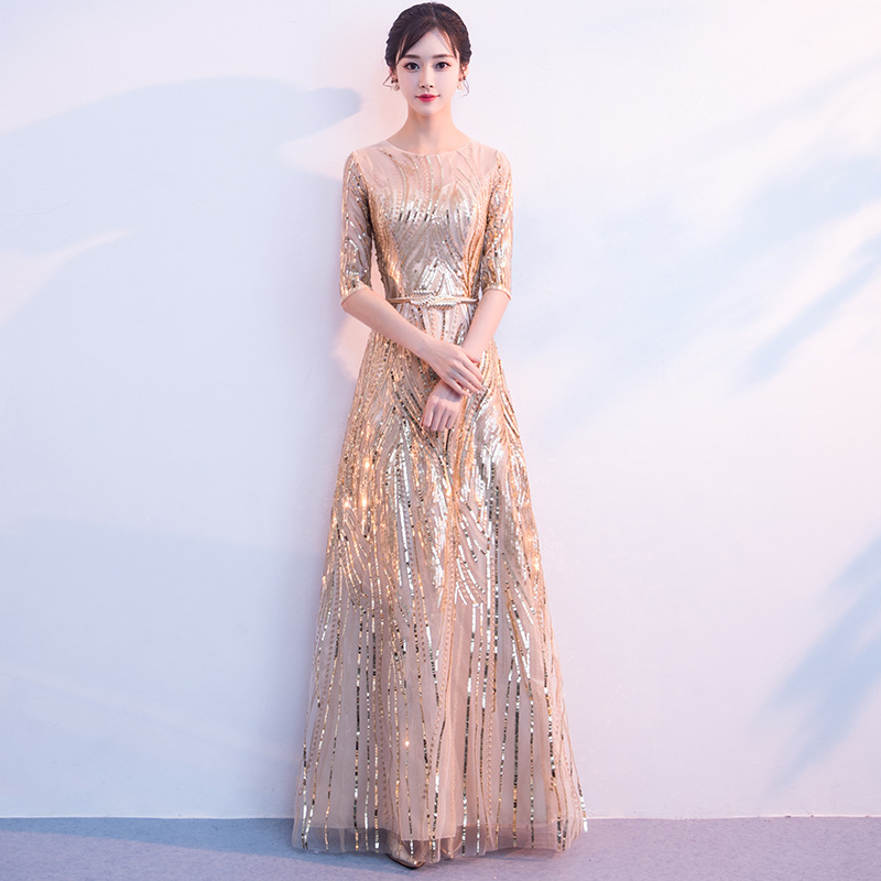 Sequins Lace Half Sleeve Sexy Slim Party Dress Evening Dress Female Chinese Style Dress Improved Qipao Size S-3XL