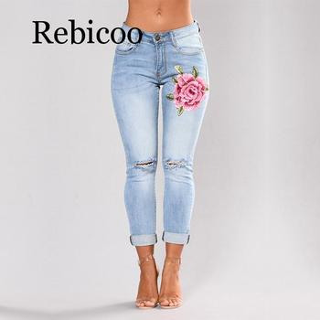 Stretch Embroidered Jeans For Women Elastic Flower Jeans Female Slim Denim Pants Hole Ripped Rose Pattern Jeans Pantalon Femme kobeinc streetwear hole ripped jeans for women flower embroidery ankle length pantalon mujer summer fashion female denim pants