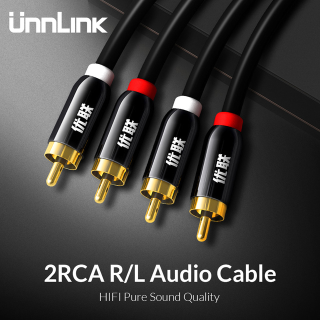 Unnlink HIF 2RCA to 2 RCA OFC RCA Audio Cable 2m 3m 5m 8m 10m for Amplifier Subwoofer Soundbar Speaker Wire TV VCD DVD Blue-ray