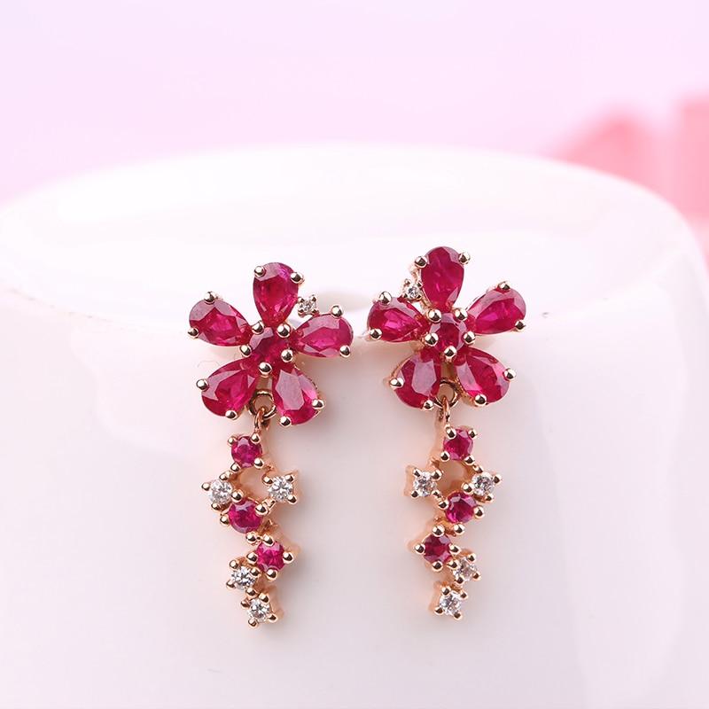 Robira Natural Burmese Ruby Earrings 14k Rose Gold Material Flower Blossom Earring Women Ear Stud Fine Jewelry In From