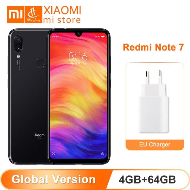 במלאי גלובלי גרסת Xiaomi Redmi הערה 7 4 GB 64 GB ROM נייד טלפון Snapdragon 660 אוקטה Core 48MP + 5MP מצלמה 4000 mAh 6.3 אינץ