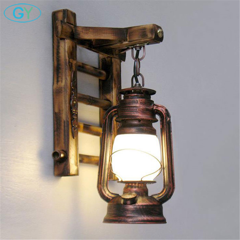 Chinese Styl Bamboo Ladder Wall Lamps Vintage Barn Lantern