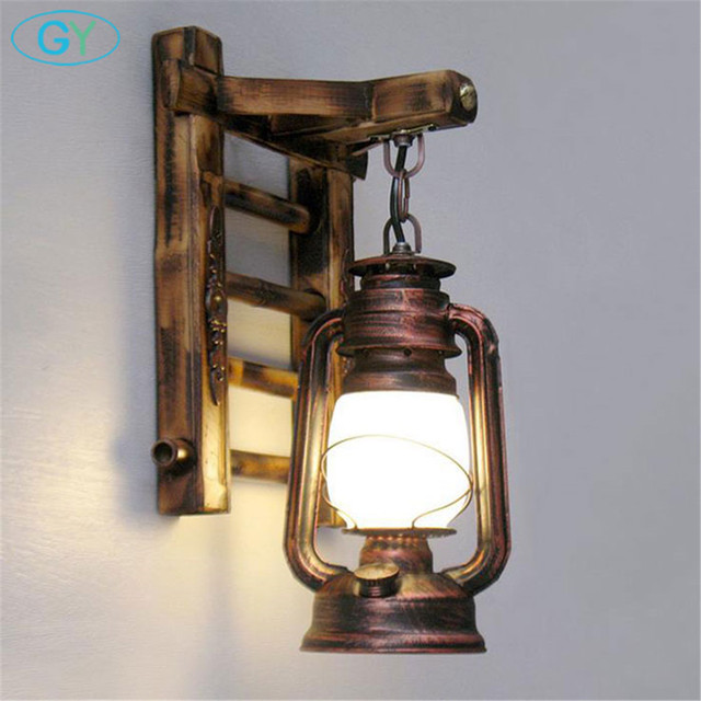 Chinese styl bamboo ladder wall lamps vintage barn lantern for Fixture exterieur led