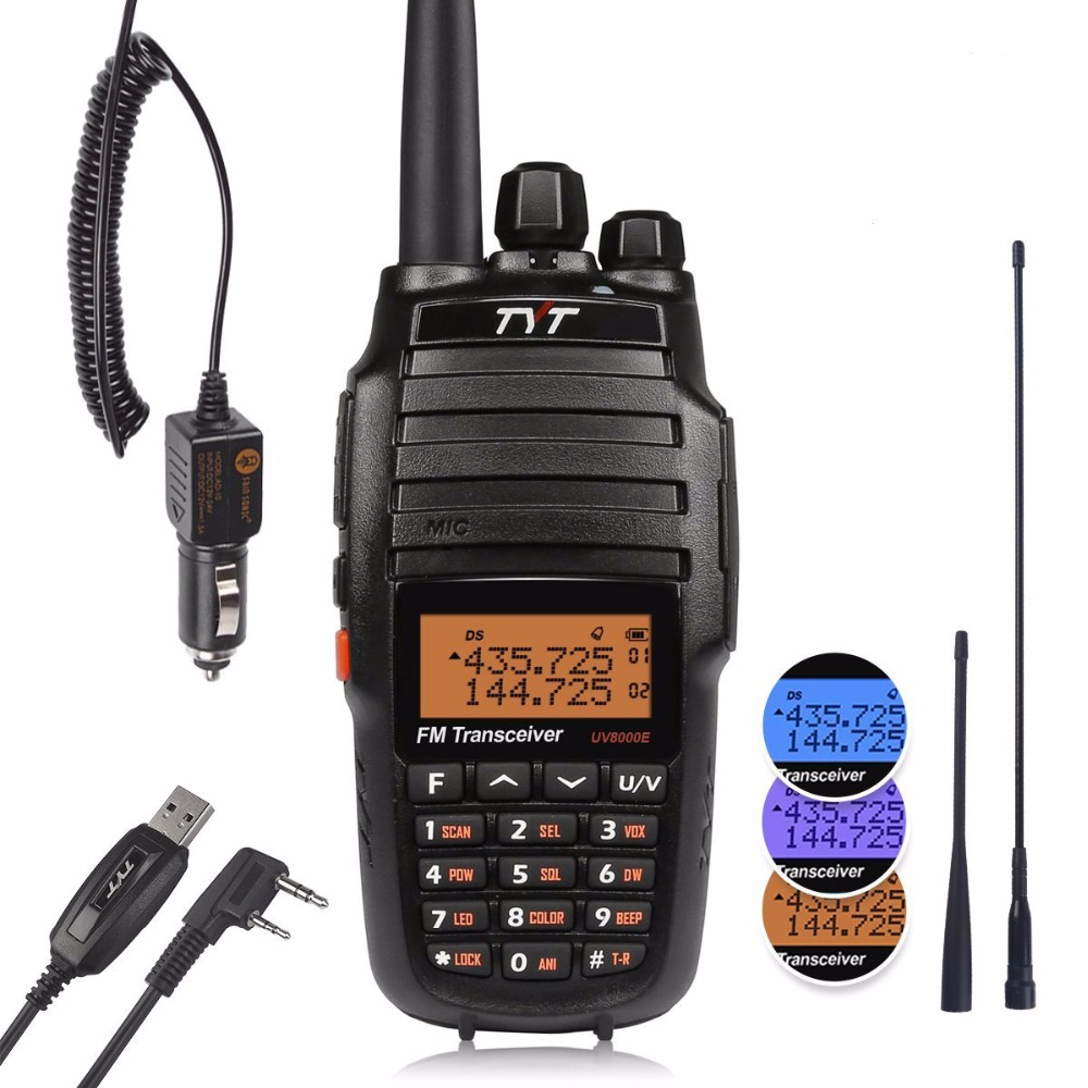 TYT UV8000E Dual Band Handheld 136-174 / 400-520MHz Tri Power 10W Cross-band Repeater 3600mA Transceiver Radio Walkie Talkie Kabel