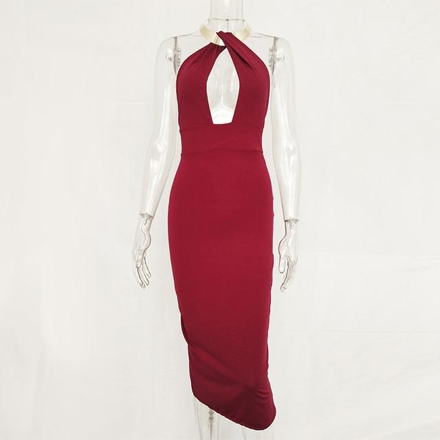 Articat Hollow Out Party Bodycon Bandage Dress Women 2017 Off Shoulder Choker Long Pencil Dress Sexy Backless Split Winter Dress 5